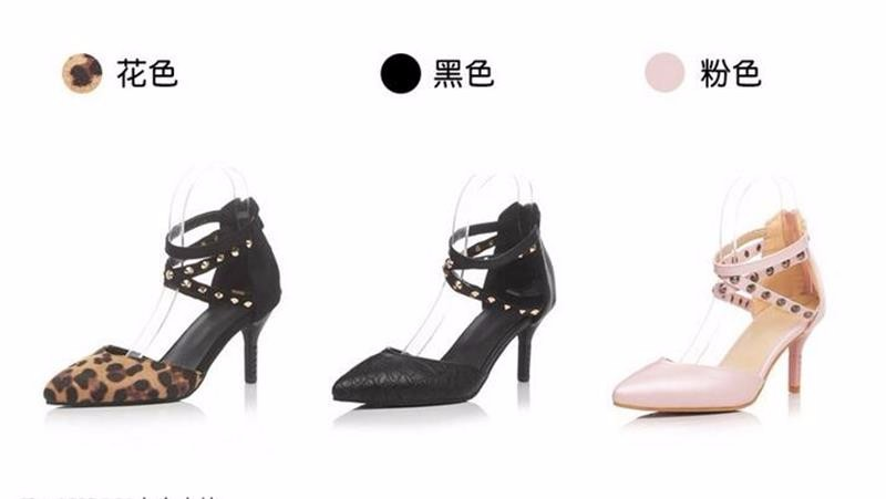 Spring New Fashion Women's Shoes Ankle Rivet Decorative Thin Band Combined High Heels Female Party Thin Heels Pumps Large 34-43