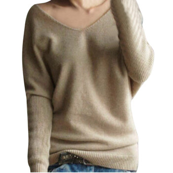 Women Fashion Autumn Winter Pullovers and Sweaters Sexy V-Neck Batwing Sleeve Loose Sweater Knitted Tops Plus Size Pull Femme