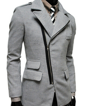 2015 fashion New  Style men Trench Coats lapels slim fit casual Wool blend trench coat men clothing  50603007A(China (Mainland))