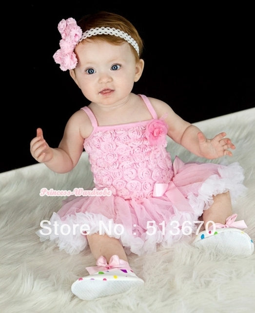 Light Pink Romantic Rose Strap Pettitop With Light Pink Feather Rosettes With Light Pink White Newborn Pettiskirt MANR49