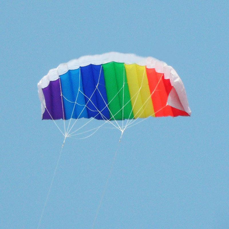 Outdoor Dual Line Stunt Parafoil Parachute Rainbow Sport Beach Kite YMP #48119(China (Mainland))
