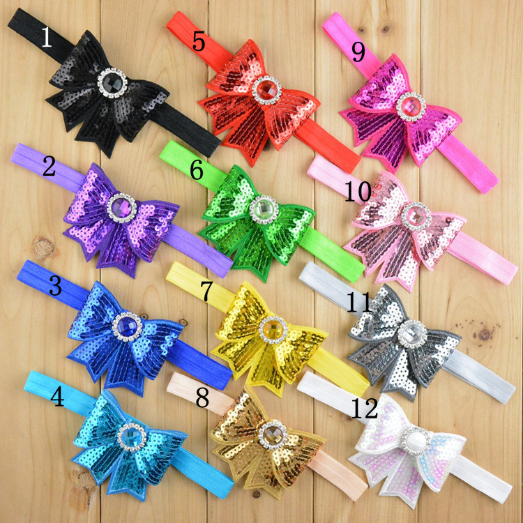 24pcs/lot Fabric Embroidered Sequin Hair Bows Appliques Baby Neon Sequin Elastic Headbands,Infant Hair Bands Hair Accessories(China (Mainland))