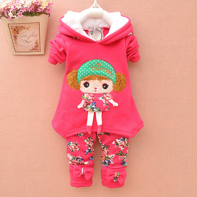 2015 new autumn/Winter baby girls lamb warm clothing set suit children thickening fleece sweatshirt + legging kids clothing set(China (Mainland))