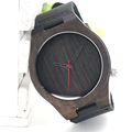 2016 New Black Leather Watch Wooden Mens Quartz Bracelet Watch Light Wood Eco friendly Clock in