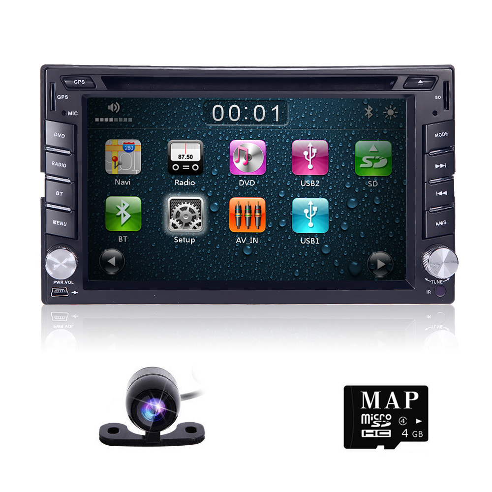 100% New universal Car Radio Double 2 din Car DVD Player GPS Navigation In dash Car PC Stereo Head Unit video+Free Map+Free Cam!(China (Mainland))