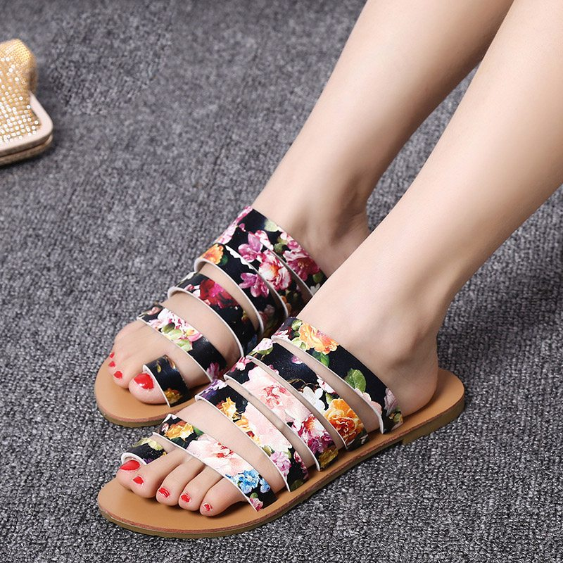 Large Size 40 41 Floral Printing Champagne Clip Toe Sandals Slippers 2016 Summe Newest Discount Cheap Sale Women Shoes Shipping  -  Fashion Supermarket for U store