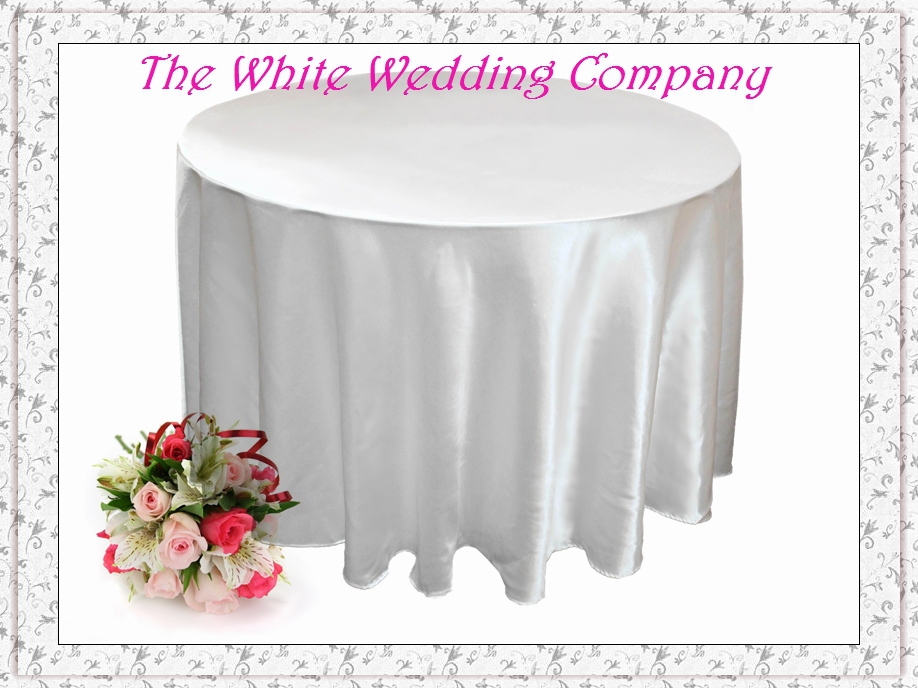 Free Shipping to US A Dozen White Satin Wedding Table Covers Tablecloth 120'' Round(China (Mainland))