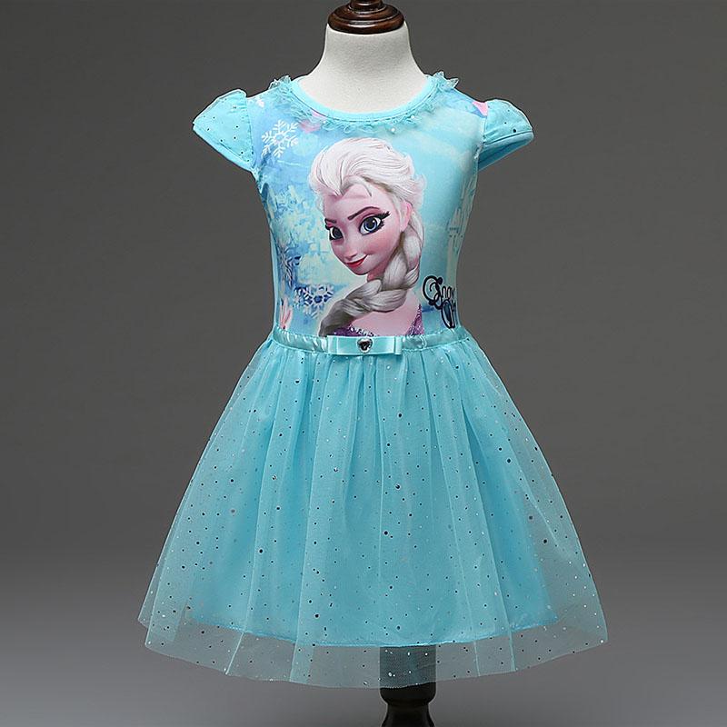 2016 summer girls dress toddler kids clothes lace sequins princess anna elsa dress snow queen costumes for children(China (Mainland))