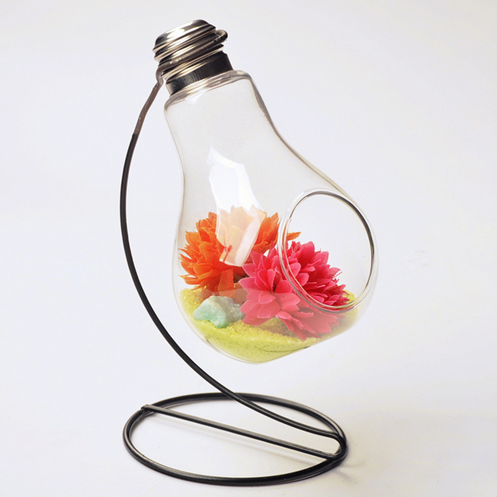 Creative Bulb Shape 8 Hanging Crystal Flower Vase Planter
