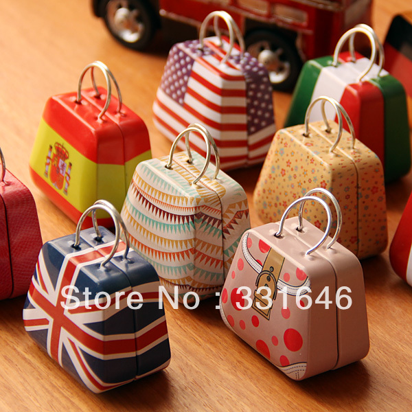 Handbag bag mini storage small coin earring button candy jewelry tin boxes gift storage boxes metal boxes home decor free ship(China (Mainland))