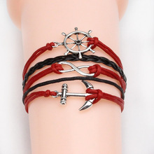 2015 new Fashion jewelry leather Double infinite multilayer bracelet factory price wholesales