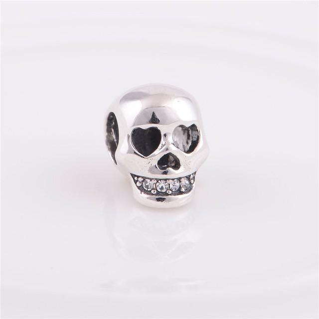 Стерлингового серебра 925 бусины европейский шарм хэллоуин череп шаблон женщин DIY ювелирных изделий подходит Chamilia стиль браслет
