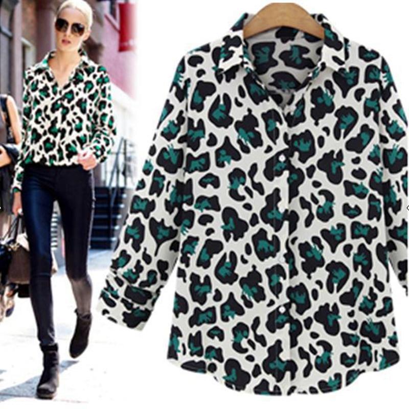 Hot Selling Summer Style Women Blouse Leopard Print Long Sleeve Woman Tops Fashion Europen Style Woman Shirt 2015 FC-0018(China (Mainland))