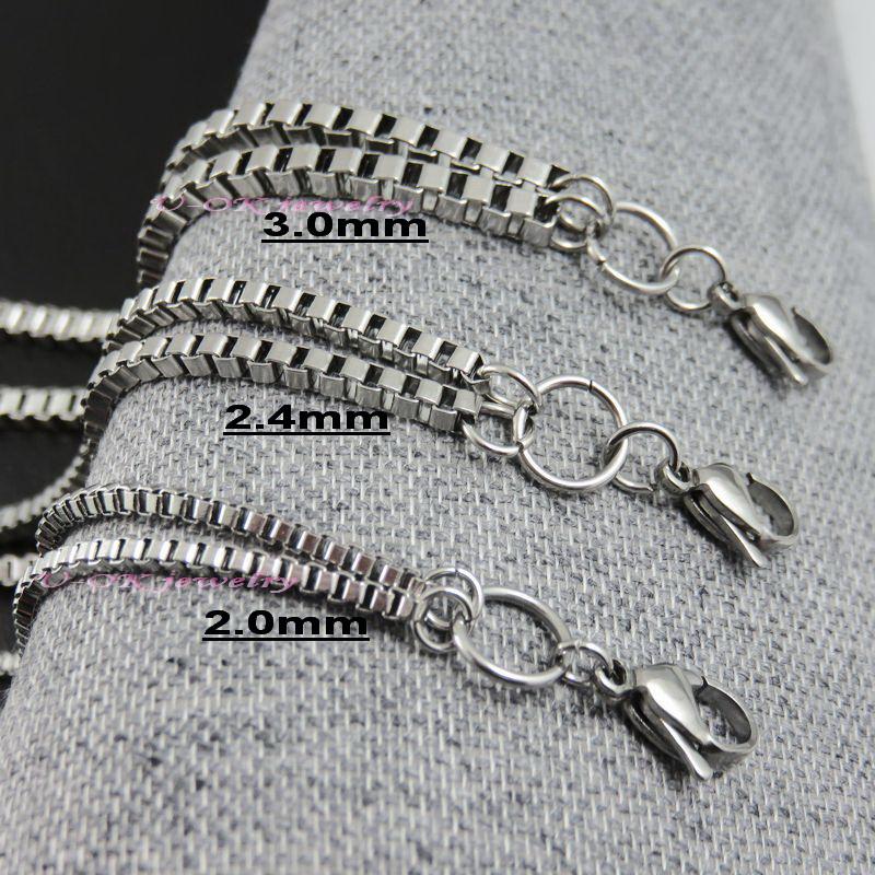 2/2. 4/3. 0 мм 55 см - 90 см из нержавеющей стали 316L цепи ожерелье для стекла плавающей памяти шарм медальон кулон коробка роло цепи ожерелье