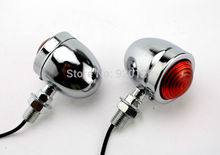2 x Motorcycle Chrome Bullet Turn Signals indicator Light For Cruiser Chopper Cafe Racer Free shipping(China (Mainland))