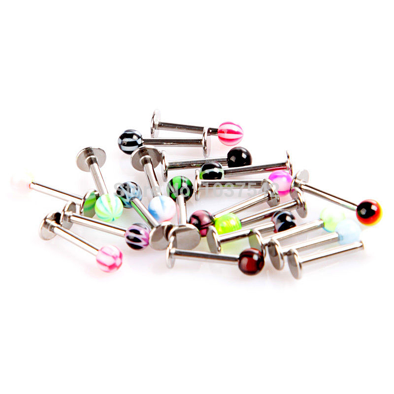 a16 free shipping 20pcs lot stainless steel ball lip rings