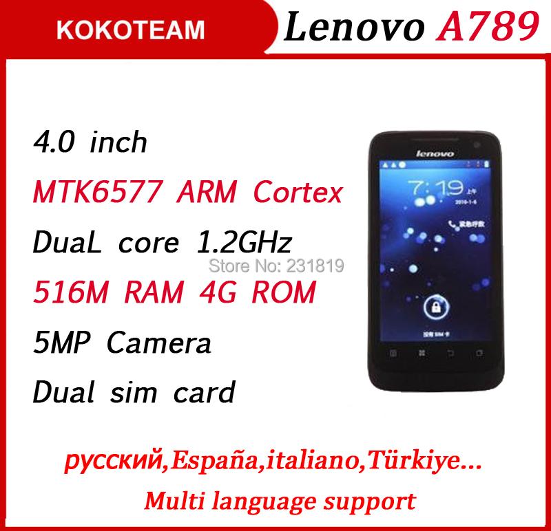 Original lenovo A789 4.0inch mobile phone smartphone Daul core MTK6577 WIFI Multi language Russian cell phones Free shipping(China (Mainland))