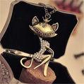 Korea Girl Retro Vintage Sexy Cat Girl Crystal Rhinestone Pendants Bib choker Long chain Necklace