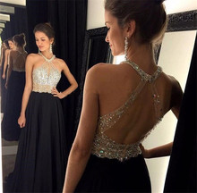 Sexy Long Elegant Black Prom Dress vestidos de fiesta largos 2015 Crystal Beading Backless A Line Chiffon Evening Party Gowns