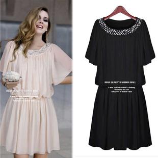 Mm2013 fashion plus size clothing plus size o-neck short-sleeve high quality chiffon one-piece dress