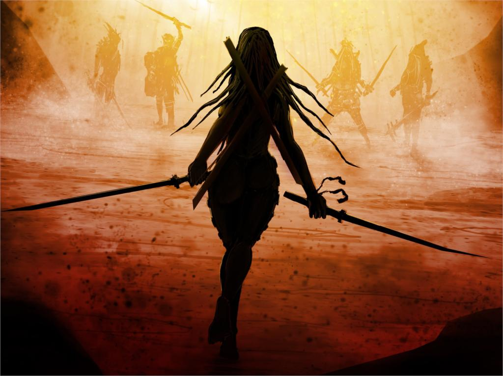 fantasy back long hair guns swords enemies 12x18 20X30 24X36 32x48 inch Poster Print 35(China (Mainland))