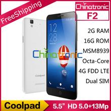 "Original Coolpad F2 4G LTE Mobile Phone MSM8939 Octa Core 1.5G Dual SIM CDMA/WCDMA/FDD LTE 5.5"" HD / FHD 2G RAM 16GB ROM 13.0MP(China (Mainland))"