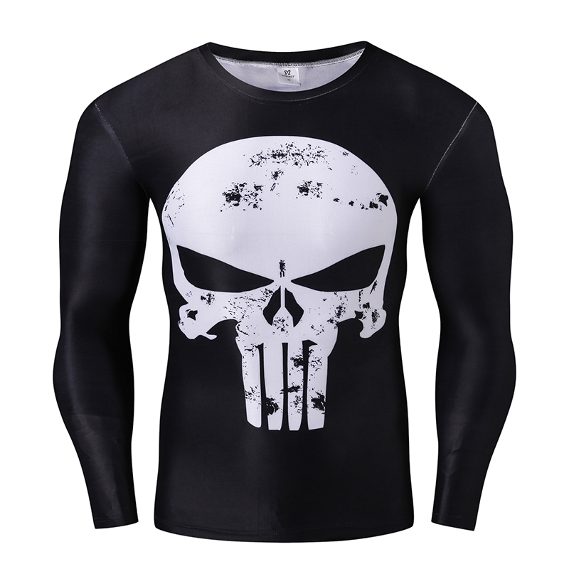 Punisher Compression Shirts Men 3D Printed T-shirts Long Sleeve Cosplay Fitness Body Building Male Crossfit Tops Punk Skeleton(China (Mainland))