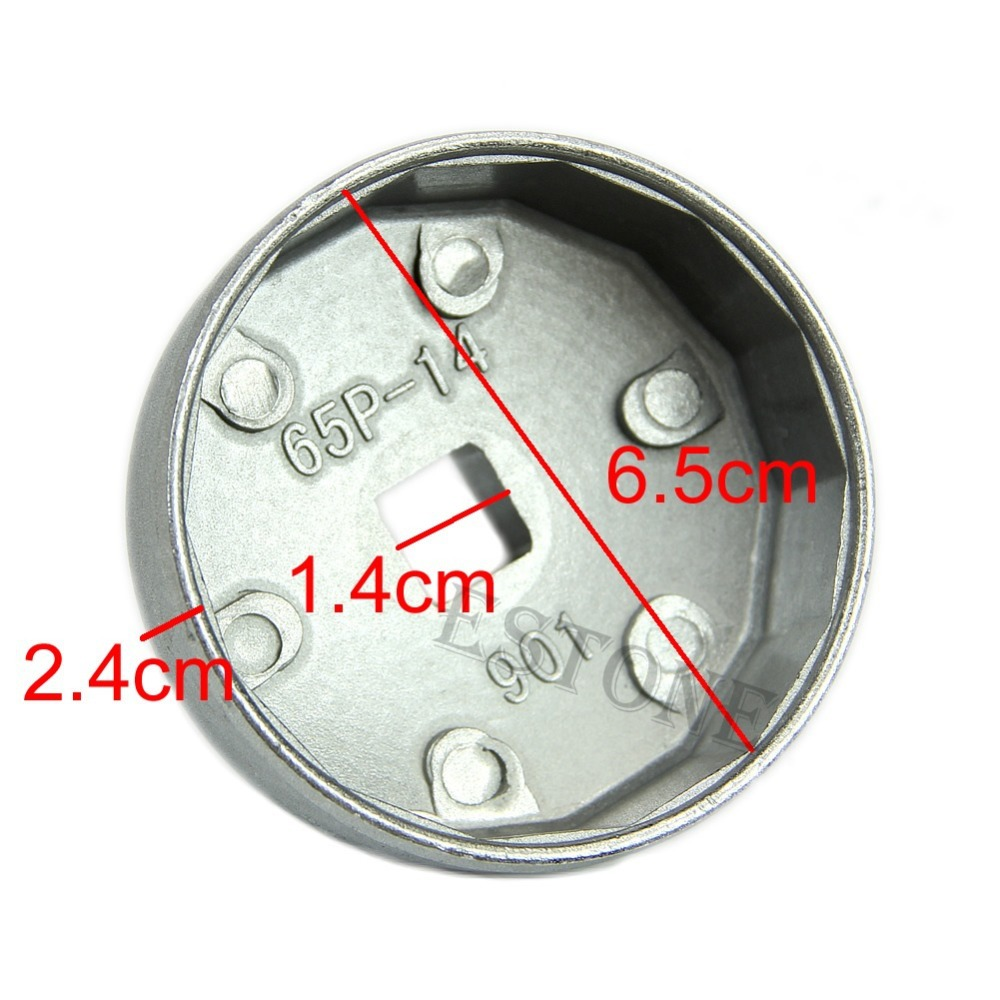 1 2 Square Drive 65mm 14 Flutes End Cap Oil Filter Wrench Auto Tool For Toyota