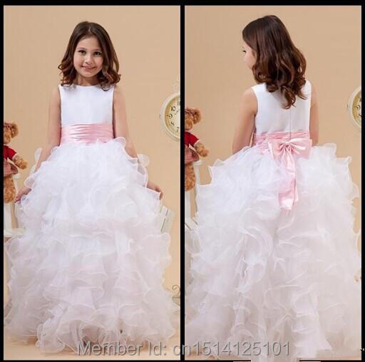 White Holy Frist Communion Dresses Organza Scoop Sleeveless Sash Bow Ruffled Flower Girl Dress Children Formal Dresses#F051411(China (Mainland))