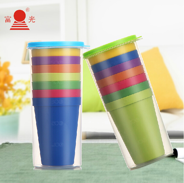 Rainbow Cup Buy 1 Get 8 Cups Barbecue Camping Festival Birthday Special Offer very Cute Travel Mug Japanese Tea Cups Tea Cup Set(China (Mainland))