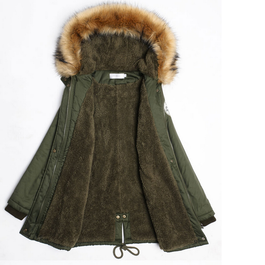New Winter Coats Women Hooded Cotton-Padded Jackets female outerwear Large Fur Collar Thick  Slim Ladies Down Parkas army green