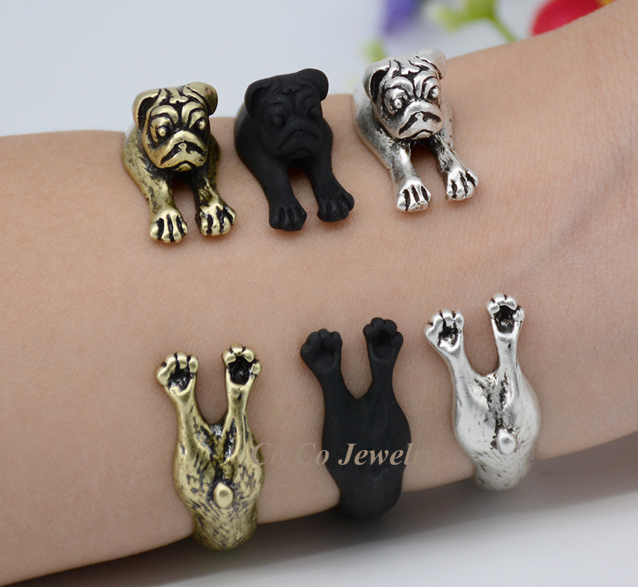 New Design Style 3 Colors Boho Chic Fun Pug Dog Bracelet Hippie Animal Bangles Femme Fashion Bracelets For Women Fine Jewelry<br><br>Aliexpress