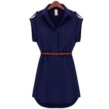 2017 Fashion Women's Short Sleeve Stretch Chiffon Casual OL Belt Mini Dress Vestidos(China (Mainland))