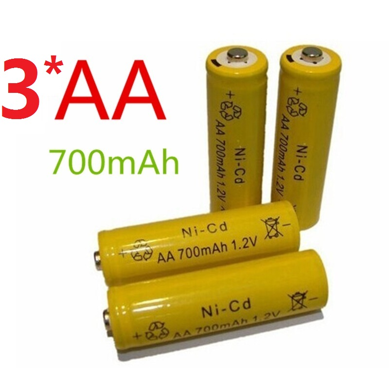 3pcs/lot AA Battery Efficient energy Rechargeable 1.2V 700mAh Ni-CD 2A Neutral Battery for RC Controller Toys Electronic(China (Mainland))