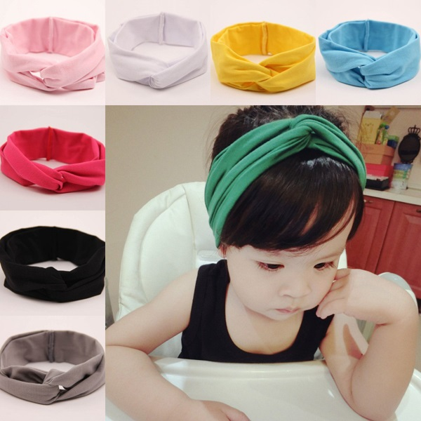 New style baby cotton headbands Lovely children soft elastic solid color hairband High quality 11 colors ribbon 10pcs HB424(China (Mainland))
