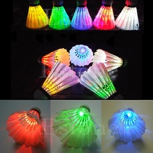 New 4Pcs for Lighting Badminton Birdies Dark Night Colorful LED Shuttlecock Hot Sale(China (Mainland))