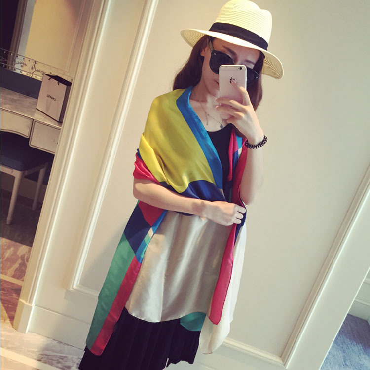 2015 new silk scarf georgette scarf beach towel hit the color wholesale Long Scarf shawls and scarves women(China (Mainland))