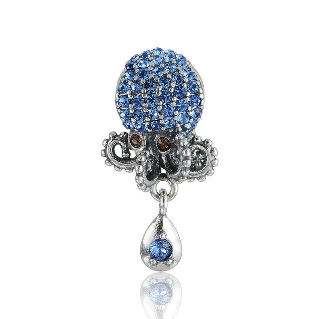 925 - серебристо-ювелирные бусины S339 осьминог кристалл мотаться бусины Fit Chamilia пандора браслет серебро 925 ювелирных изделий DIY