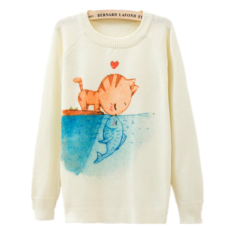 [1314] 2015 New Fashion Autumn Winter Women Long Sleeve Cats kiss Fish print Knitted Sweater Pullover Knitwear Tops Outerwear(China (Mainland))