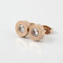 Wholesale cheap inlaid zirconia stone single rose gold crystal earrings titanium earrings men(China (Mainland))