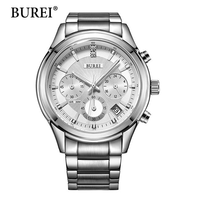 Burei Новые Часы Человек Мода Стиль Многофункциональный Наручные Часы Роскошные Мужчины Часы Из Нержавеющей Стали Бизнес Кварцевые 2016 Горячей Продажи