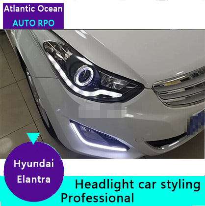 AUTO.PRO For Hyundai elantra headlights 2012-15 LED light guide DRL+ Q5 bi xenon lens+angel eyes For Hyundai elantra car styling(China (Mainland))