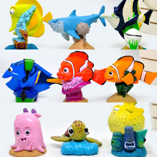 5 Sets/lot 9pcs/set American Cartoon Finding Nemo figures Clownfish Fish PVC Action Figure Toys Free Shipping<br><br>Aliexpress