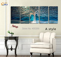 5 Panel Set Wishing Tree Canvas Painting 100% Handmade Modern Abstract  Oil Painting On Canvas Wall Art Gift Home Decor,JYJHS062