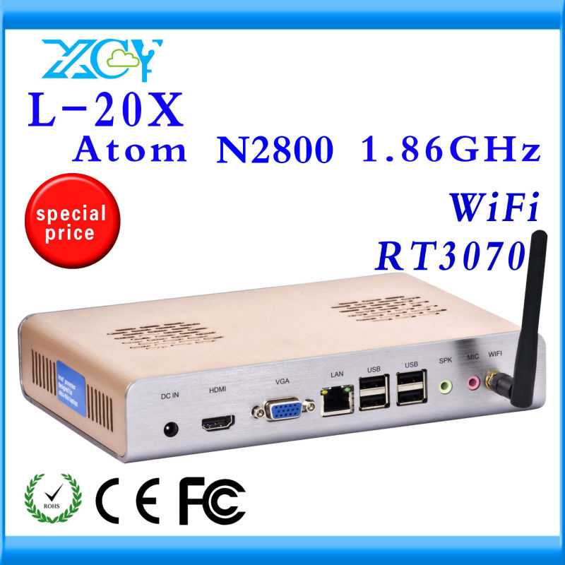N2800 micro industrial pc N2800 linux mini server N2800 mini itx pc L-20X 4g ram 128g SSD support Windows 7, WIFI, Webcam, HDMI(China (Mainland))