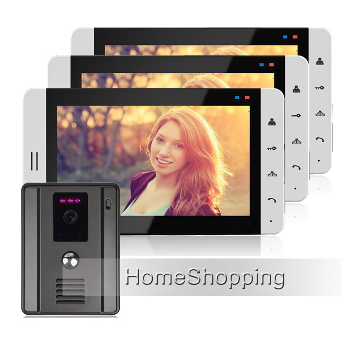 "FREE SHIPPING New 7"" Color Touch Screen Video Door Phone Intercom System + 3 White Monitors + Waterproof Outdoor Camera IN STOCK(China (Mainland))"
