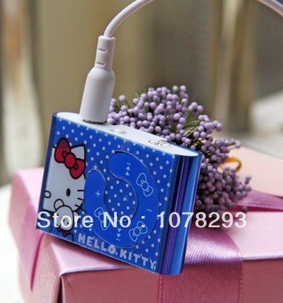 Hotselling 500pcs/lot hello Kitty MP3 Player Support Max 8GB Micro SD / TF Card 5 Colors Best Gift For ChIldren (no box)(China (Mainland))
