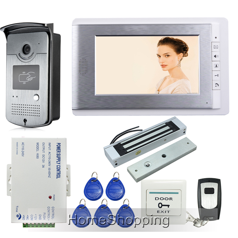 """Home New Wired 7"""" Video Door Phone Intercom Entry System 1 Monitor + 1 RFID Access Camera + Electric Magnetic Lock FREE SHIPPING(China (Mainland))"""