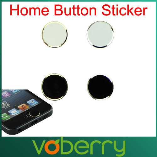 Fantastic 2Pcs Black+ 2Pcs White Metal Aluminum Home Button Keyboard Keypad Sticker For iPhone 5 5S Wholesale Free Shipping(China (Mainland))