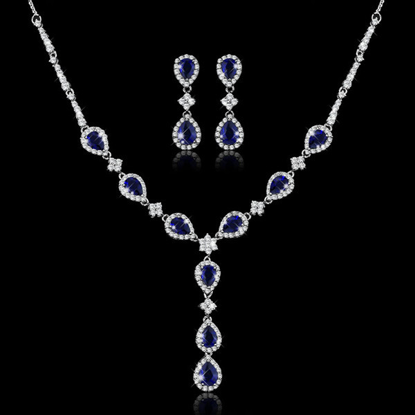 European American fashion luxury bridal rhinestone necklace earrings zircon blue crystal wedding jewelry sets brides